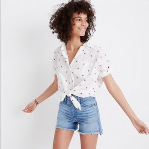 NWT Madewell Embroidered Strawberry Tie Front Top